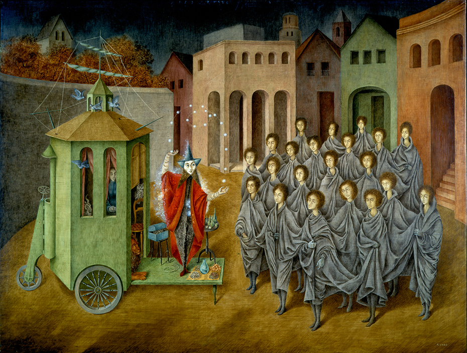 Remedios Varo,  El malabarista o El juglar , 1956, Oil and inlaid mother of pearl on masonite, 35 4/5 x 48 inches (91 x 122 cm)