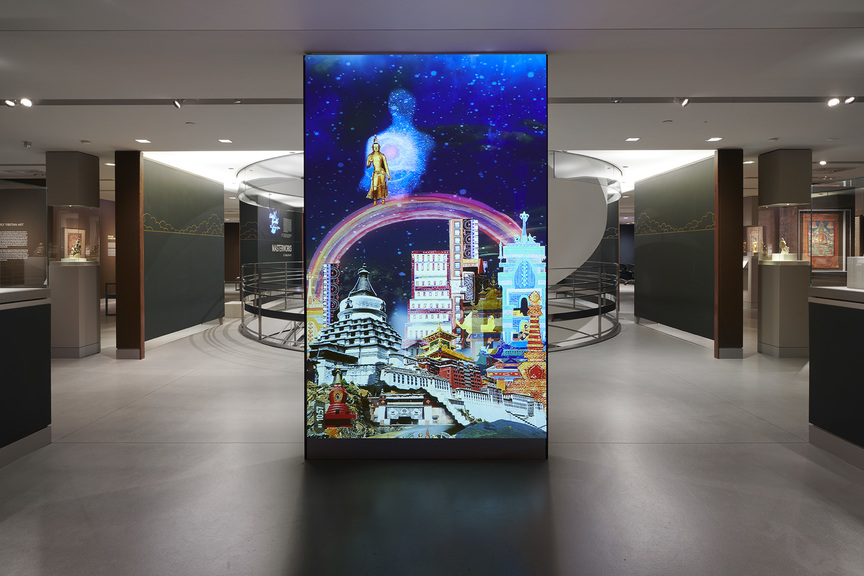 """Installation view of  CHITRA GANESH 's """"The Scorpion Gesture/Face of the Future"""" at Rubin Museum of Art, New York, 2018. Courtesy Phoebe D'Heurle."""