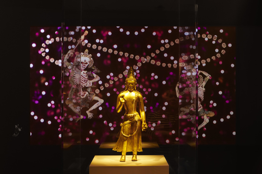 """Installation view of  CHITRA GANESH 's  Silhouette in the Graveyard , 2018, digital animation: 1 min 22 sec., at """"The Scorpion Gesture/Face of the Future,"""" Rubin Museum of Art, New York, 2018. Photo by Phoebe D'Heurle. Courtesy Rubin Museum of Art."""