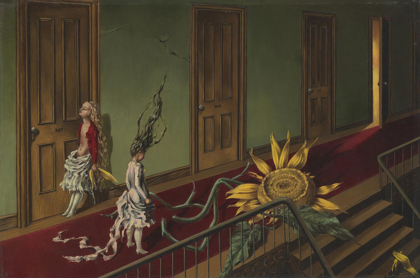 "Dorothea Tanning, ""Eine Kleine Nachtmusik"" (1943), oil paint on canvas, 407 x 610 mm (courtesy Tate © DACS, 2018)"