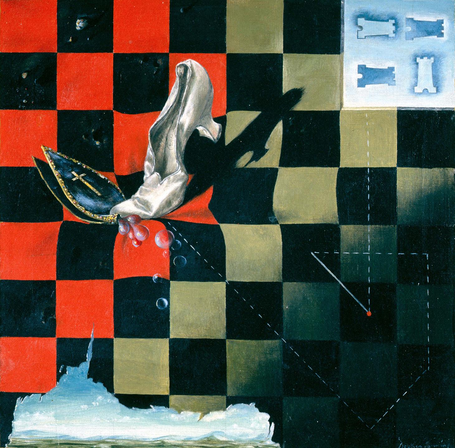 """Dorothea Tanning, """"Endgame"""" (1944), oil paint on canvas, 430 x 430 mm (Collection of Harold & Gertrud Parker. Courtesy Gertrud V. Parker © DACS, 2018)"""