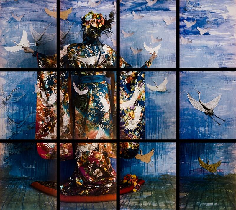 María Magdalena Campos-Pons, El Mensajero, 2011, Composition of 12 Polaroid Polacolor Pro 24 x 20 photograph, 24 x 20 inches each(60.7 x 50.8 cm each), 72 x 80 inches (182.9 x 203.2 cm)