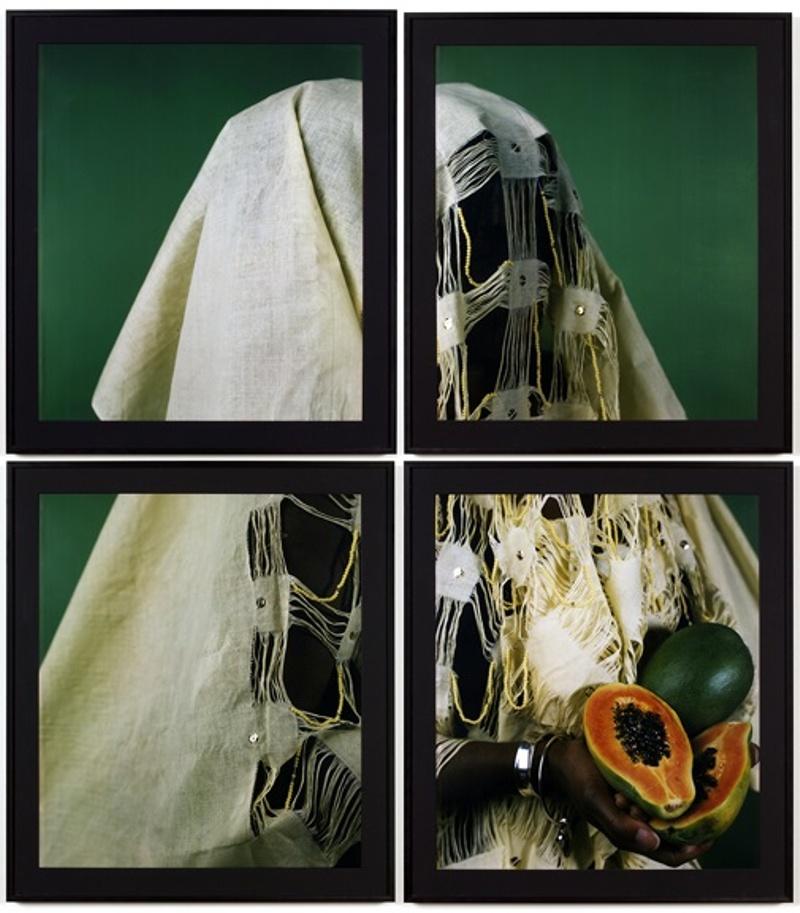 Bin Bin Lady, The Papaya, Polaroid Polacolor Pro, 24 x 20 inches each (50.8 x 61 cm), 48 x 40 inches (121.92 x 101.6 cm)