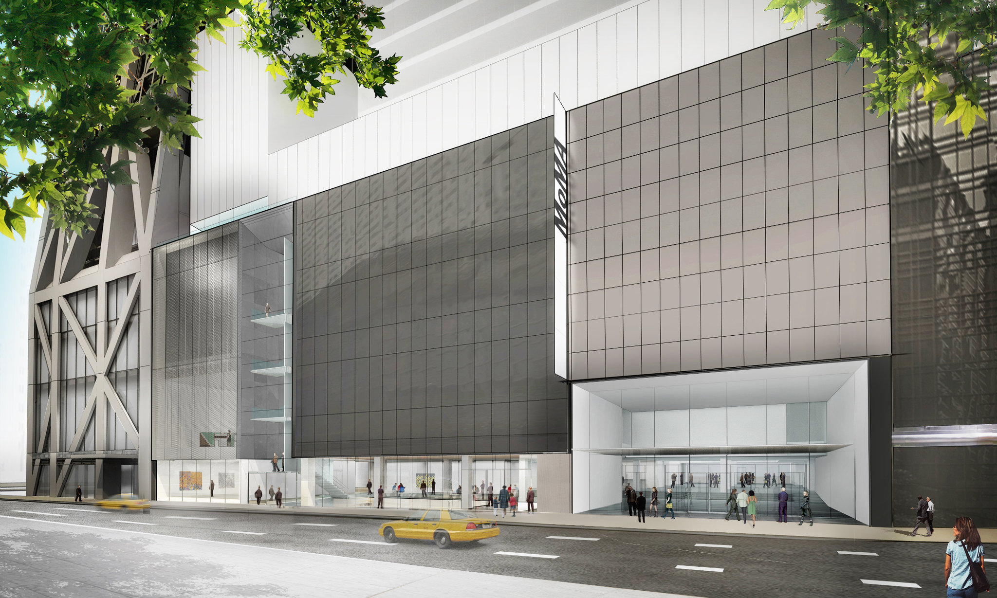 Exterior of the Museum of Modern Art's planned face on West 53rd Street, showing glass-walled galleries. Access to the ground floor will be free to the public. The galleries incorporate space from the demolished American Folk Art Museum and Jean Nouvel condominium tower. Credit Diller Scofidio + Renfro