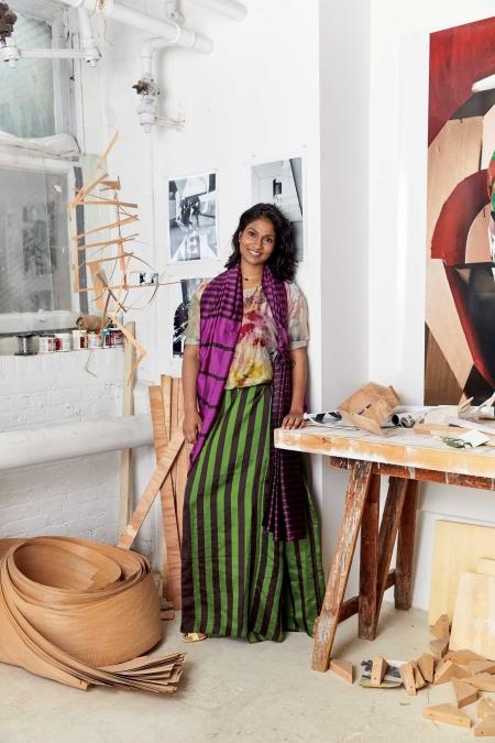 YAMINI NAYAR. Silk top,    Yavi.    Cotton silk sari,    Payal       Khandwala.    Leather heels,    Christian Louboutin.    Metal ring and necklace, Nayar's own