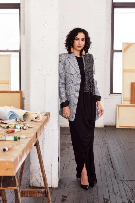 MARIAM GHANI.  Silk crepe sari,    Rashmi       Varma.    Wool blazer,    Michael       Kors Collection.    Leather heels,    Manolo Blahnik.    Stone earrings,    Lizzie Fortunato
