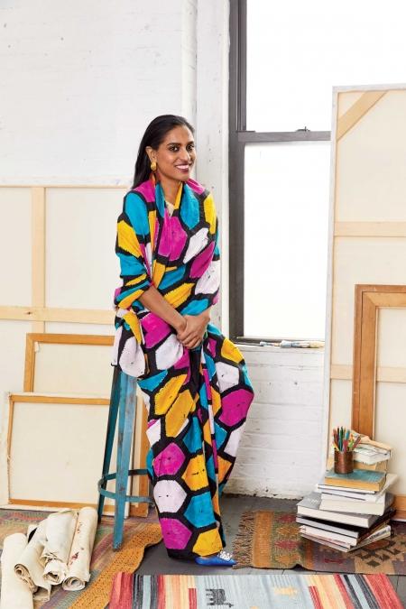 CHITRA GANESH.  Cotton top,    Yavi.    Georgette sari,    NorBlack       NorWhite.    Satin heels,    Paul Andrew.    Metal earrings,    Lizzie Fortunato