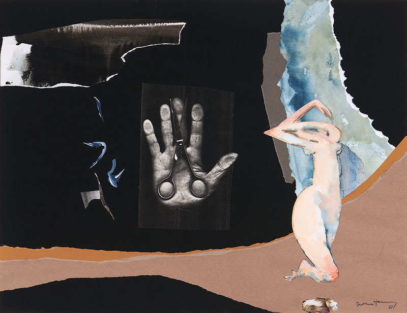 Dorothea Tanning,  Still Calling, Still Hoping , 1988, Collage on paper, 19 x 24 3/4 inches (48.3 x 62.9 cm)
