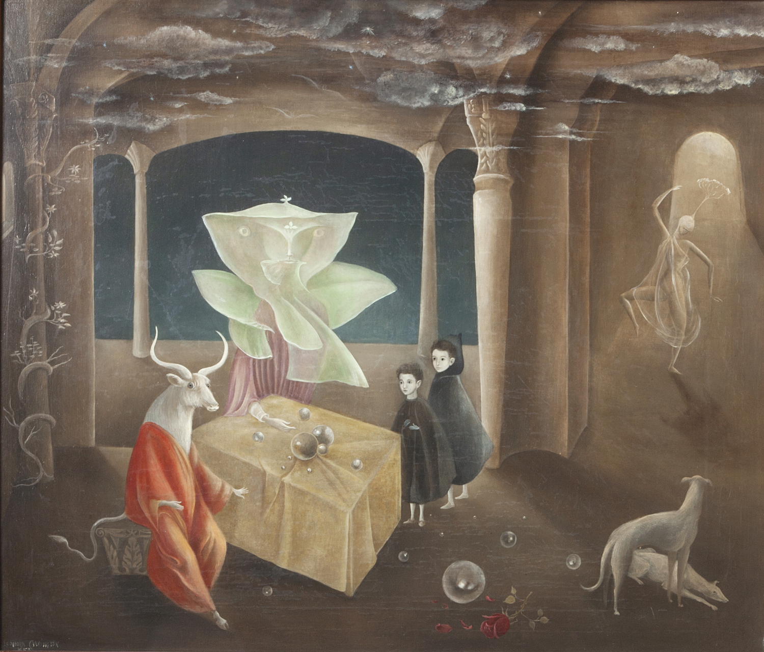 Leonora Carrington,  And Then We Saw the Daughter of the Minotaur! , 1953, Oil on Canvas, 23 3/5 x 27 1/2 inches (60 x 70 cm), © 2019 Estate of Leonora Carrington / Artists Rights Society (ARS), New York