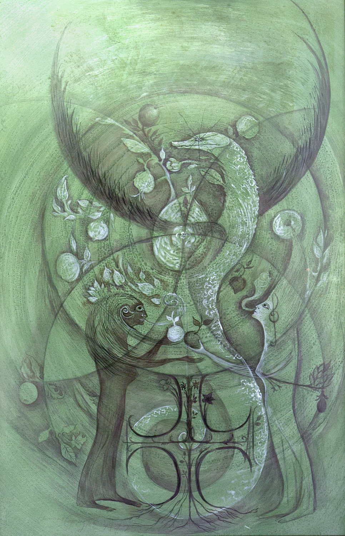 Leonora Carrington,  Mujeres Conciencia,  1972, Mixed media on board, 29 1/2 x 19 3/10 inches (75 x 49 cm), © 2019 Estate of Leonora Carrington / Artists Rights Society (ARS), New York