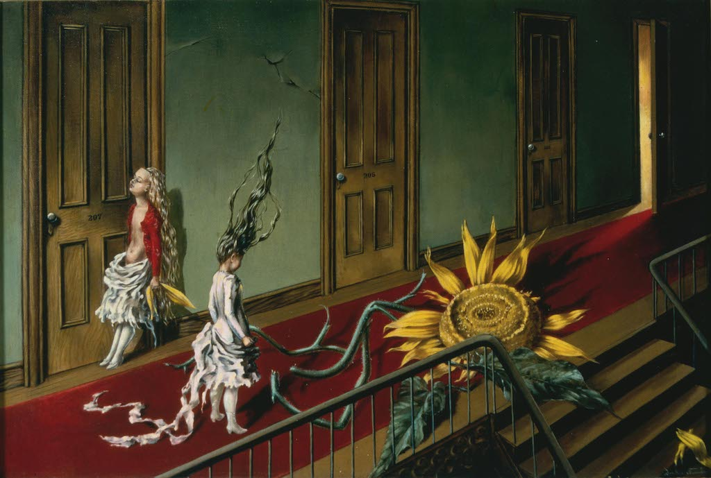 Dorothea Tanning,  Eine Kleine Nachtmusik  (A Little Night Music), 1943, oil on canvas.  TATE, ACQUIRED WITH THE SUPPORT OF THE ART FUND AND THE AMERICAN FUND FOR THE TATE GALLERY, 1997