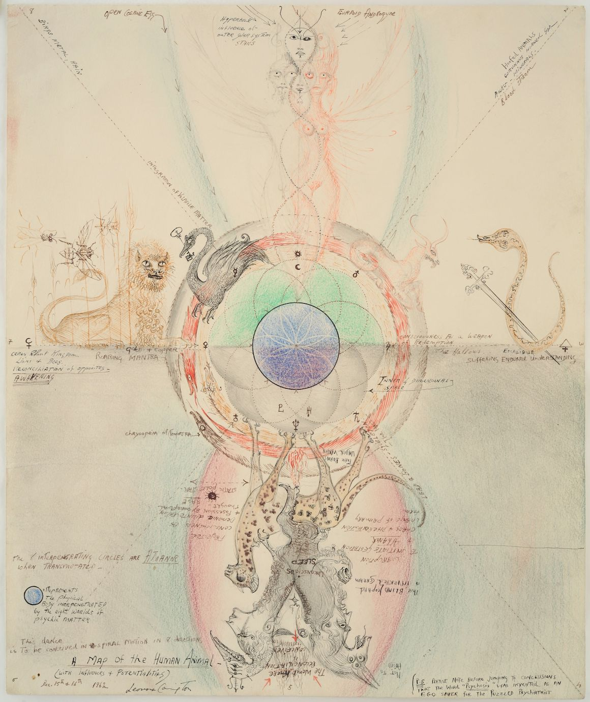 LEONORA CARRINGTON, MAP OF THE HUMAN ANIMAL, 1962. COURTESY GALLERY WENDI NORRIS © 2019 ESTATE OF LEONORA CARRINGTON / ARTISTS RIGHTS SOCIETY (ARS), NEW YORK.