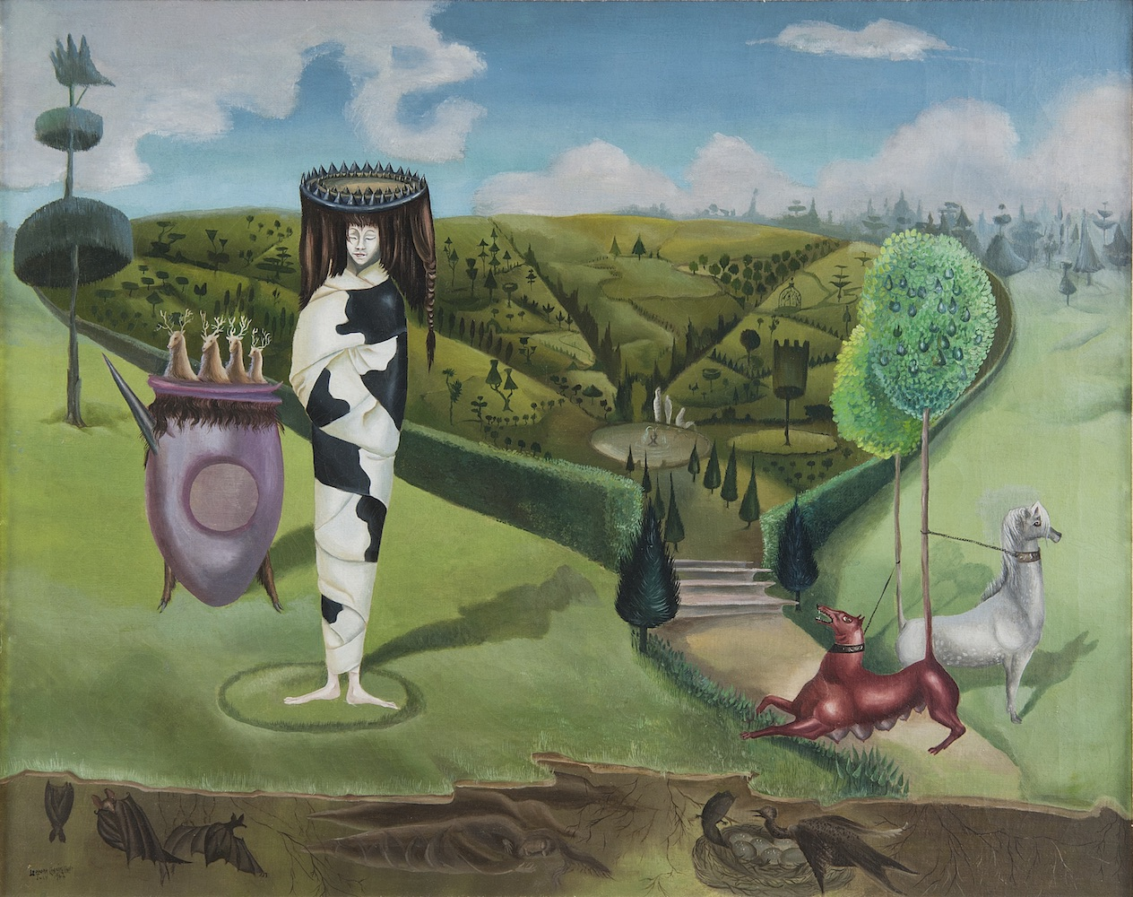 LEONORA CARRINGTON, GREEN TEA, 1942, OIL ON CANVAS, 24″ X 30″. © 2019 ESTATE OF LEONORA CARRINGTON / ARTISTS RIGHTS SOCIETY (ARS), NEW YORK. COURTESY OF GALLERY WENDI NORRIS.