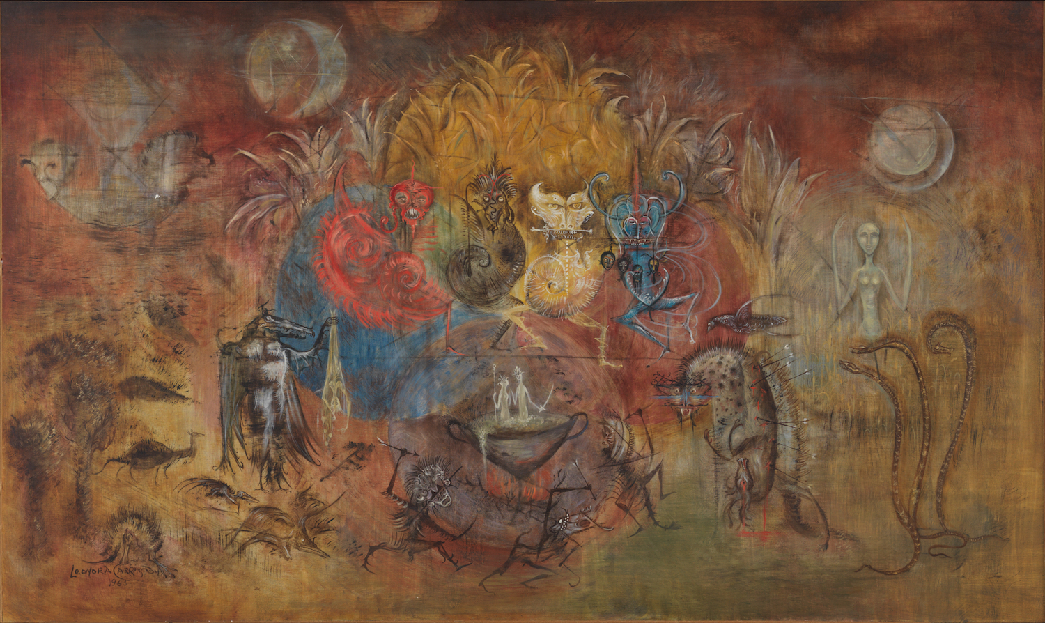 "LEONORA CARRINGTON, UNTITLED [PRELIMINARY SKETCHES FOR THE PLAY OPUS SINIESTRUS], 1965, OIL ON CANVAS, 34 3/5″ X 58 7/10″. SIGNED AND DATED L.L. ""LEONORA CARRINGTON 1965."" © 2019 ESTATE OF LEONORA CARRINGTON / ARTISTS RIGHTS SOCIETY (ARS), NEW YORK. COURTESY OF GALLERY WENDI NORRIS."