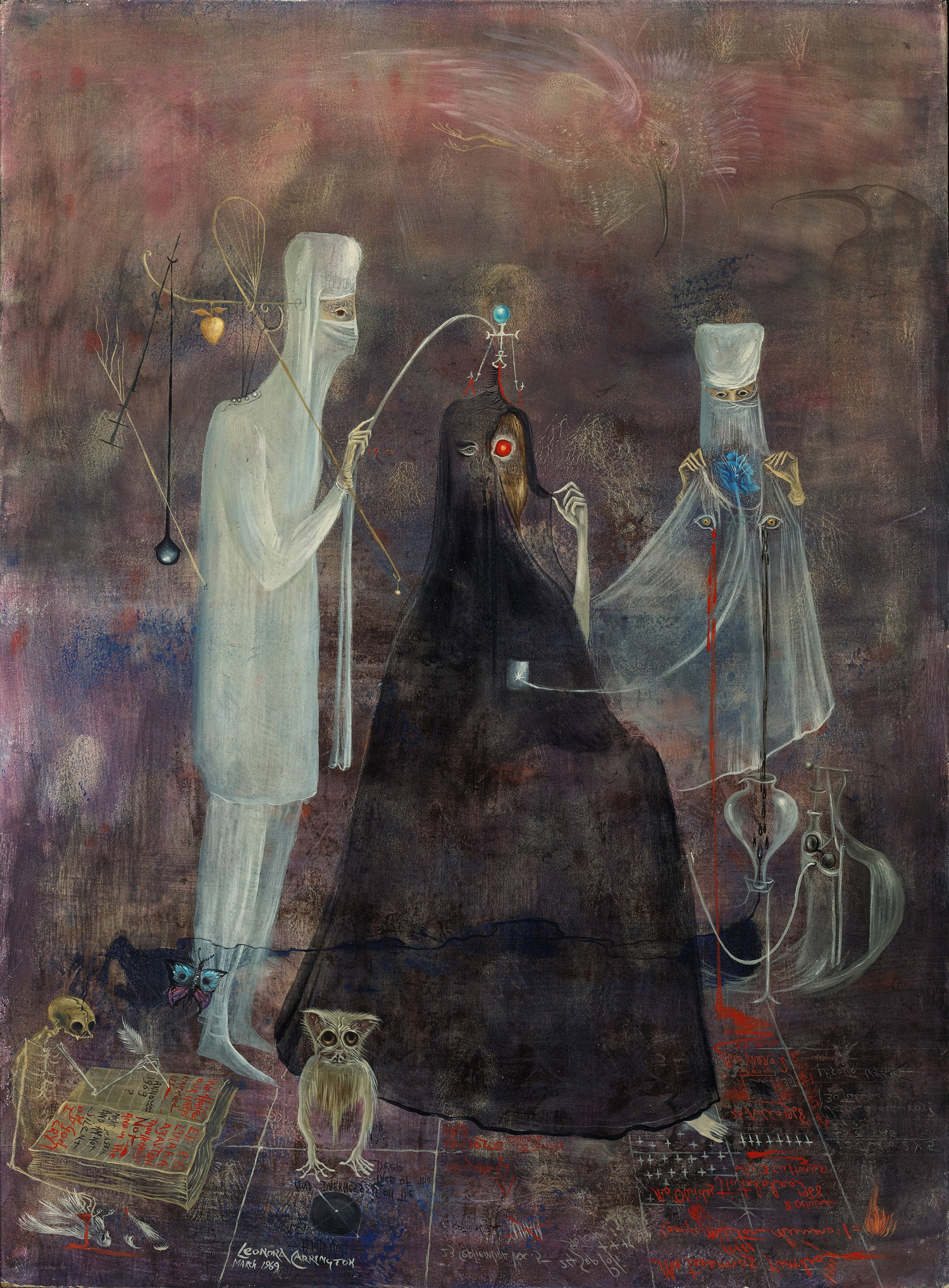"LEONORA CARRINGTON, OPERATION WEDNESDAY, 1969, OIL AND TEMPERA ON HARDBOARD, 23 3/4″ X 17 5/8″. SIGNED L.L ""LEONORA CARRINGTON MARCH 1969""; INSCRIBED ""2 DE OCTUBRE 1968…NO OLVIDES TLATELOLCO…LAS TRES CULTURAS…NO TENEMOS TUMBA…CAMPO MILITAR NÚMERO 1,"" LOWER RIGHT; ""MARCH 1969 DR. FERNANDO ORTIZ MONASTERIO,"" VERSO. © 2019 ESTATE OF LEONORA CARRINGTON / ARTISTS RIGHTS SOCIETY (ARS), NEW YORK. COURTESY OF GALLERY WENDI NORRIS."