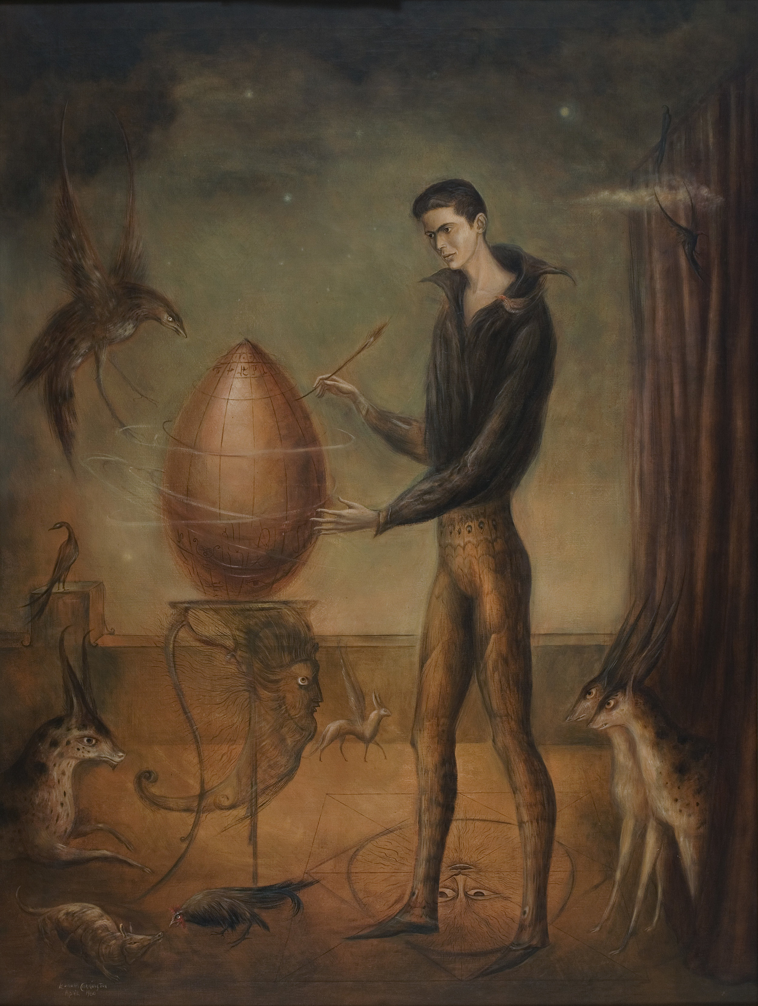 "LEONORA CARRINGTON, QUERÍA SER PÁJARO, 1960, OIL ON CANVAS, 47″ X 35 1/2″. SIGNED AND DATED L.L. ""LEONORA CARRINGTON APRIL 1960""; VERSO SIGNED ""ENRIQUE ALVAREZ FELIX/ 1960/ LEONORA CARRINGTON."" © ESTATE OF LEONORA CARRINGTON / ARTISTS RIGHTS SOCIETY (ARS), NEW YORK. COURTESY OF GALLERY WENDI NORRIS."