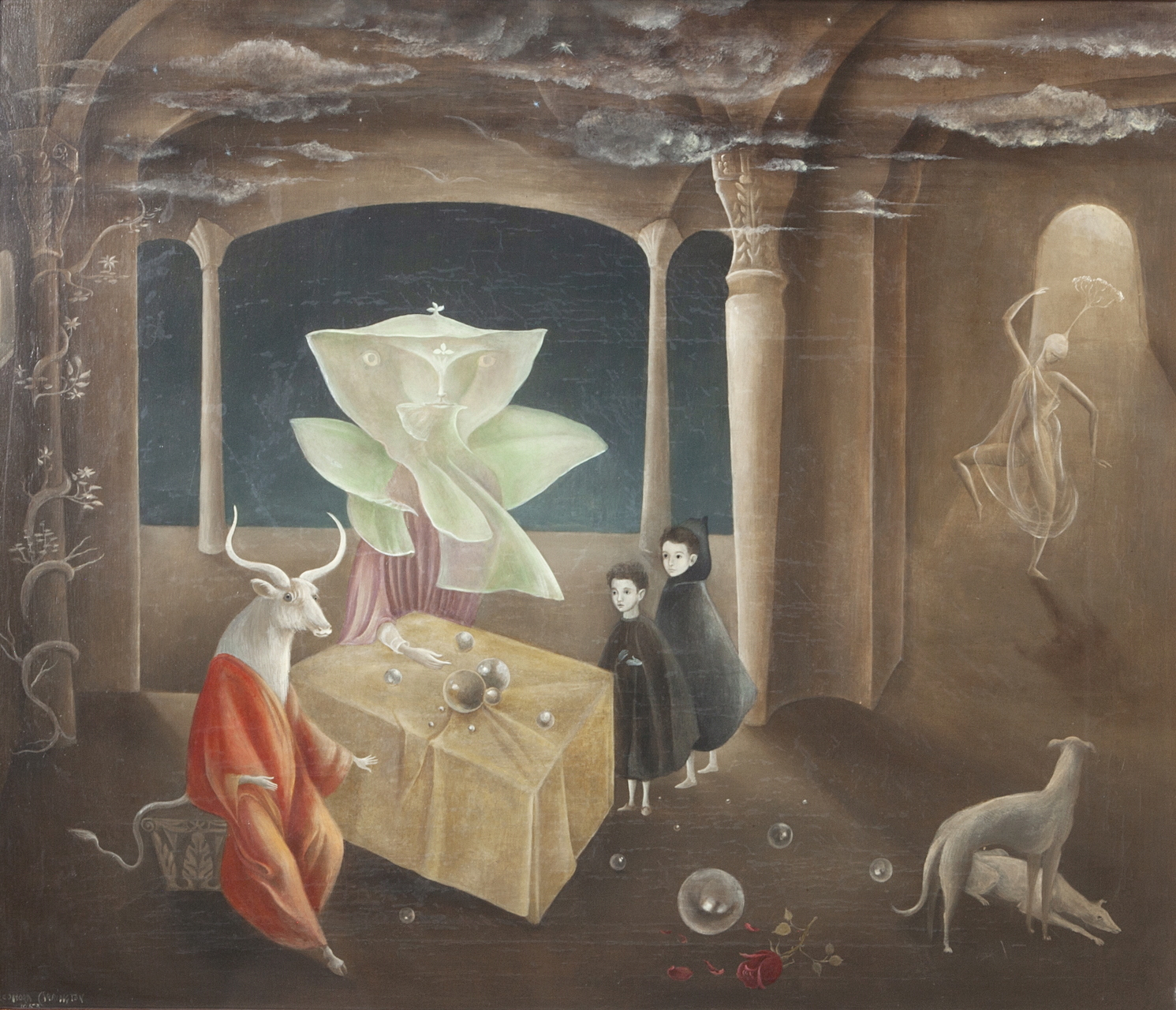 "LEONORA CARRINGTON, AND THEN WE SAW THE DAUGHTER OF THE MINOTAUR!, 1953, OIL ON CANVAS, 23 3/5″ X 27 1/2″. SIGNED L.L. ""LEONORA CARRINGTON 1953."" © 2019 ESTATE OF LEONORA CARRINGTON / ARTISTS RIGHTS SOCIETY (ARS), NEW YORK. COURTESY OF GALLERY WENDI NORRIS."