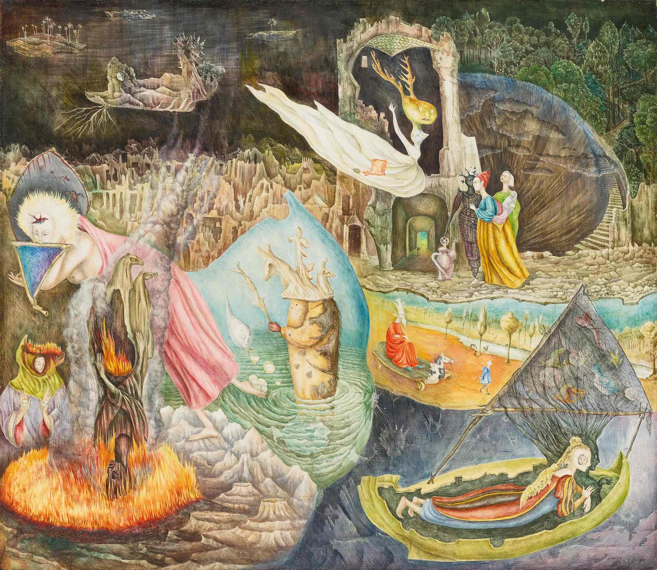 Leonora Carrington, Les Distractions de Dagobert, 1945. Signed Carrington and dated 1945 September (lower right). Tempera on Masonite, 74.9 by 86.7 cm (291⁄2 by 341⁄8 in.) Private Collection. Image courtesy of Di Donna