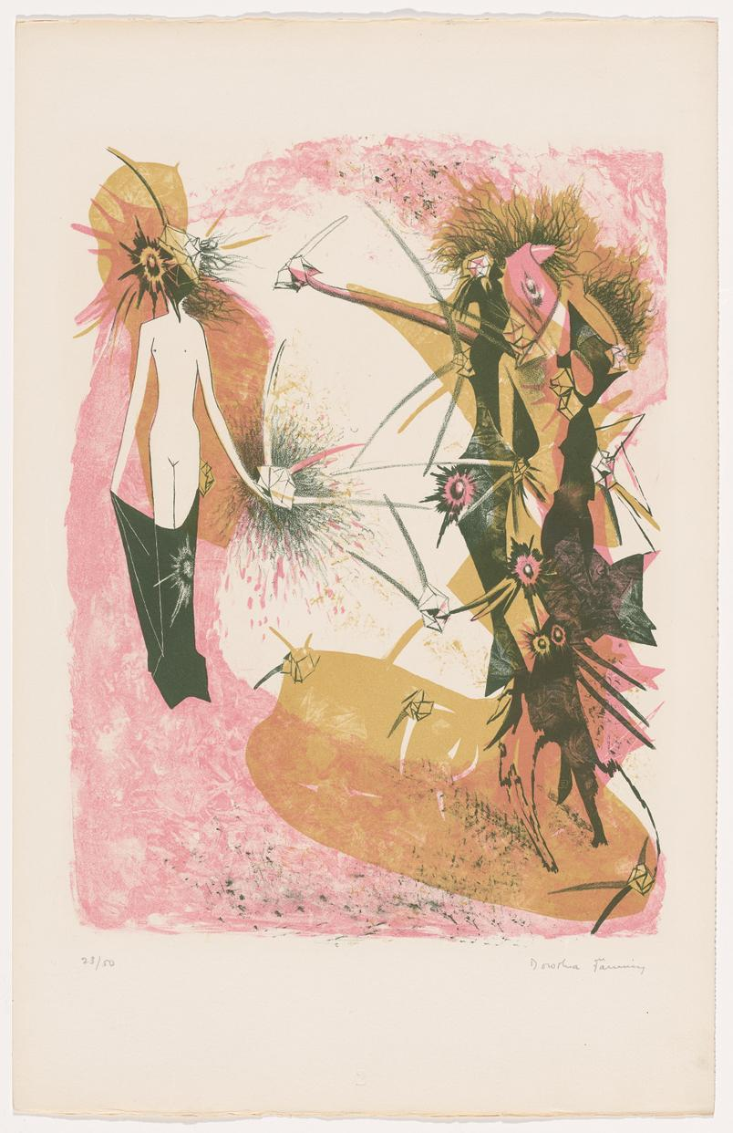 Dorothea Tanning ,  Second Peril (Deuxième péril) , 1950, lithograph, edition 23/50, image: 14 1/2 x 11 inches (36.8 x 27.9 cm), sheet: 19 7/8 x 12 3/4 inches (50.5 x 32.4 cm), The Menil Collection, Houston, Gift of Barbara and Jim Metcalf and the Gallery of Surrealism, Artist Rights Society (ARS), New York / ADAGP, Paris.