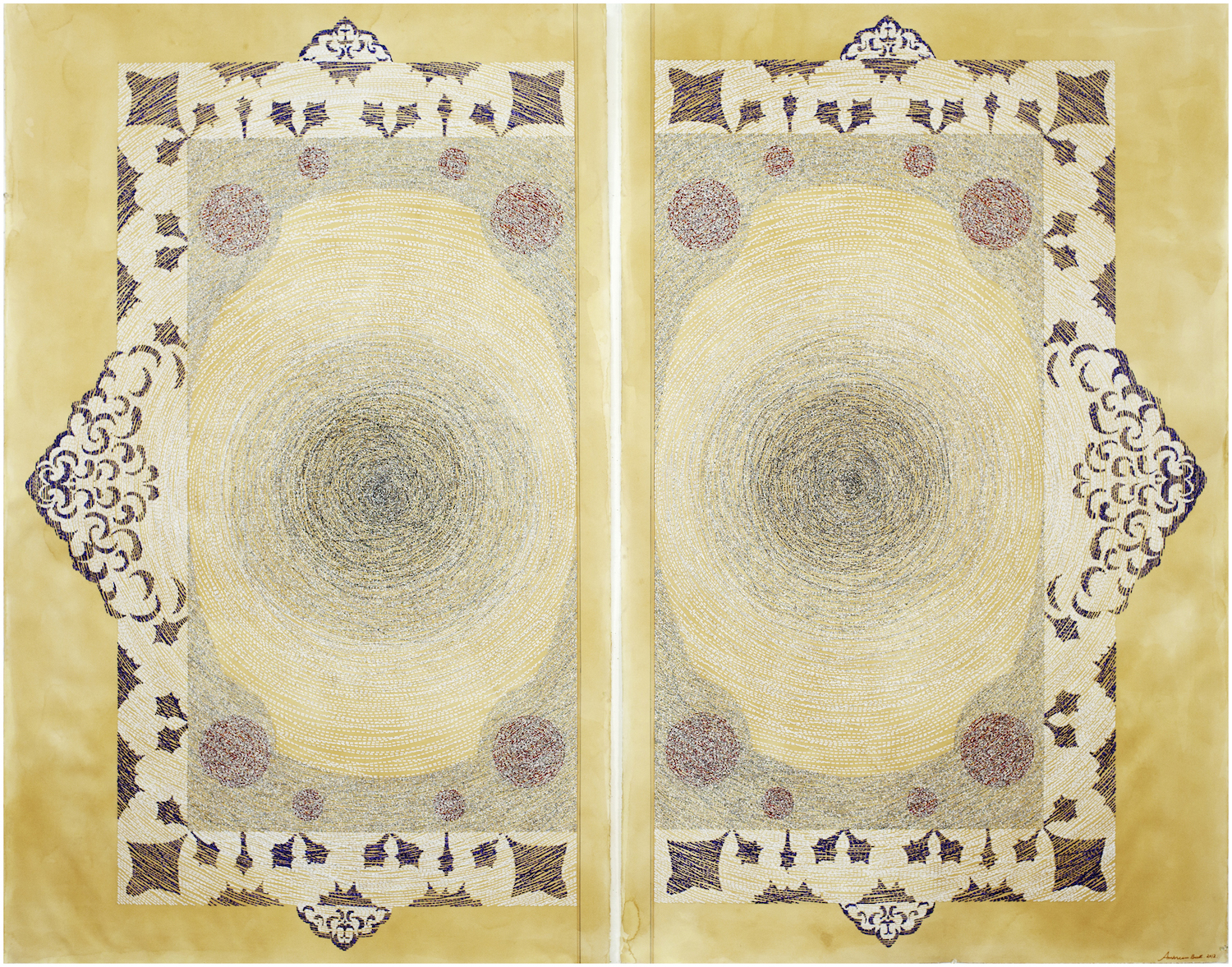Ambreen Butt,  Pages of Deception , 2015, Torn and collaged text on tea stained paper, 70 1/2 x 45 inches each (177.8 x 114.3 cm)