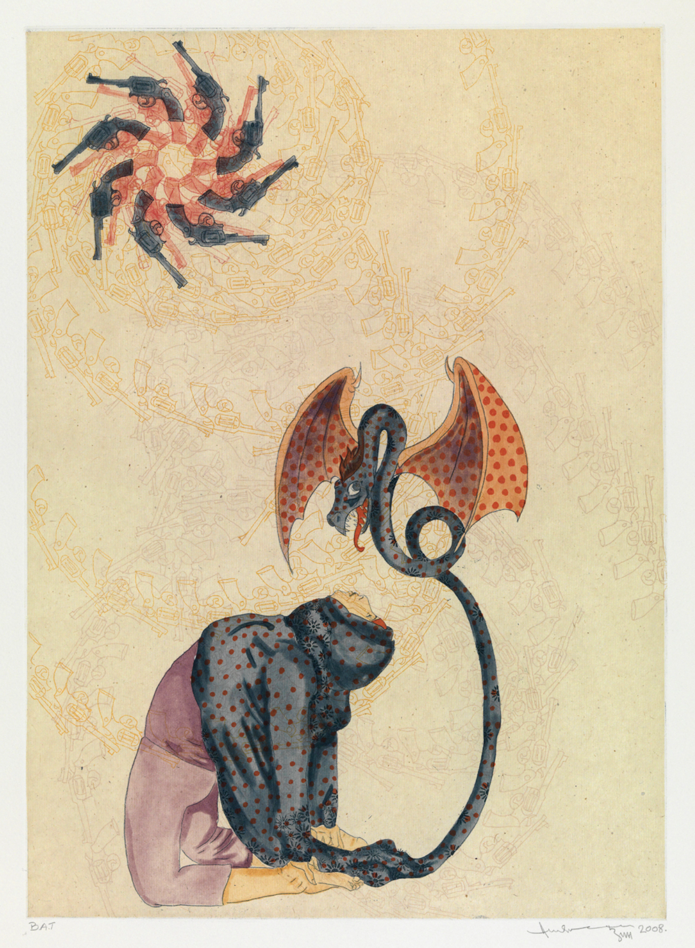 """""""Untitled (Woman/Dragon)"""" from """"Daughters of the East,"""" 2008. Ambreen Butt. Photo by Stephen Petegorsky. Courtesy of the artist and NMWA."""