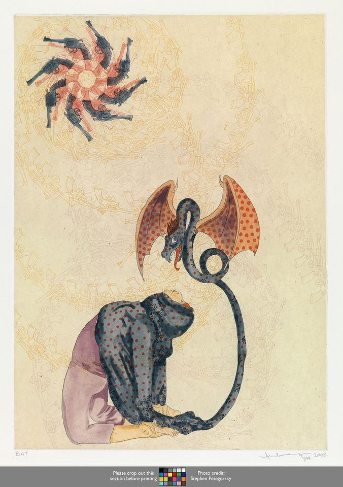 Ambreen Butt, Untitled (Woman/Dragon) (2008), from the series Daughters of the East, etching, aquatint, spit-bite aquatint, drypoint, and hand colouring on paper© Ambreen Butt. Courtesy of the artist. Photo: Stephen Petegorsky