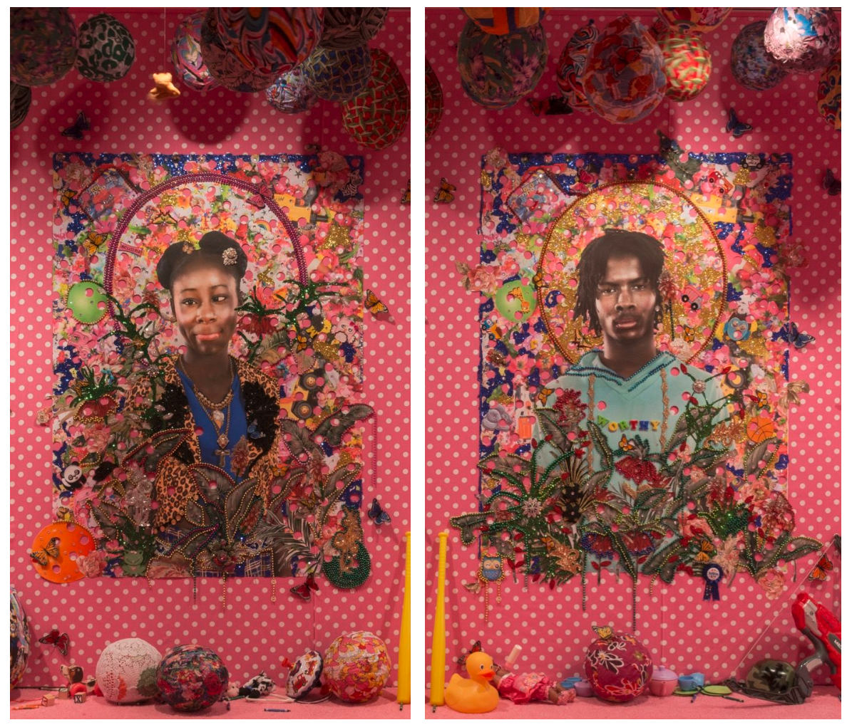 """Installation view of Ebony G .  Patterson , 18,  2016 , in  """" . . . when they grow up . . .,"""" at The Studio Museum Harlem, 2016. Courtesy of the artist and Monique Meloche Gallery, Chicago.  Installation view of Ebony G. Patterson , 14, 2016 , in  """"  . . . when they grow up . . .,"""" at The Studio Museum Harlem, 2016. Courtesy of the artist and Monique Meloche Gallery, Chicago."""