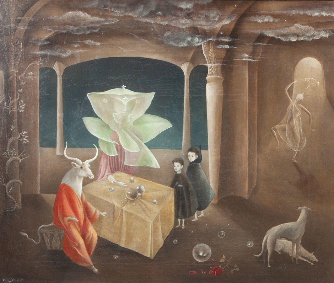 """Leonora Carrington,  And Then We Saw the Daughter of the Minotaur!,  1953,  oil on canvas, 23 3⁄5 × 27 1⁄2""""."""