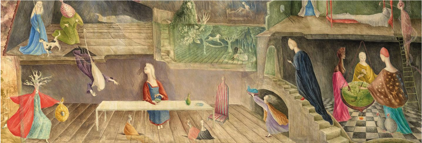 Leonora Carrington,  The House Opposite  (detail), 1945, tempera on board, 33 × 82 cm. Courtesy: West Dean College of Arts and Conservation