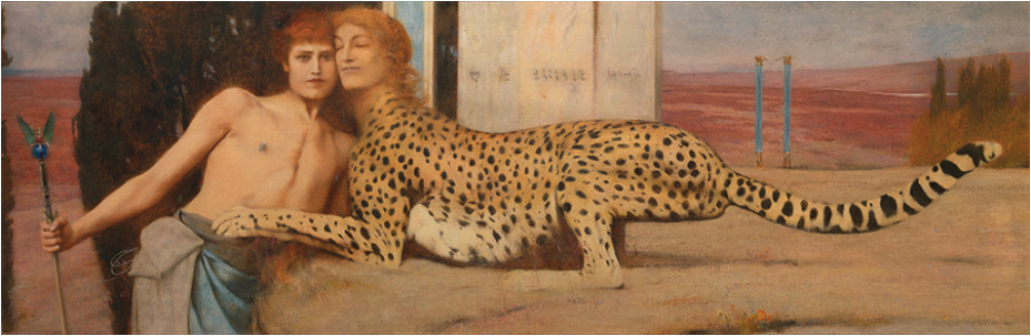 Fernand Khnopff,  The Caresses ,   1896, oil on canvas, 51 × 151 cm. Courtesy: Wikimedia Commons