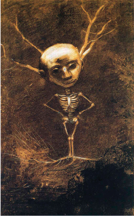 Odilon Redon,  Spirit of the Forest , 1890, charcoal, chalk and gouache, 46 × 29 cm. Courtesy: Wikimedia Commons