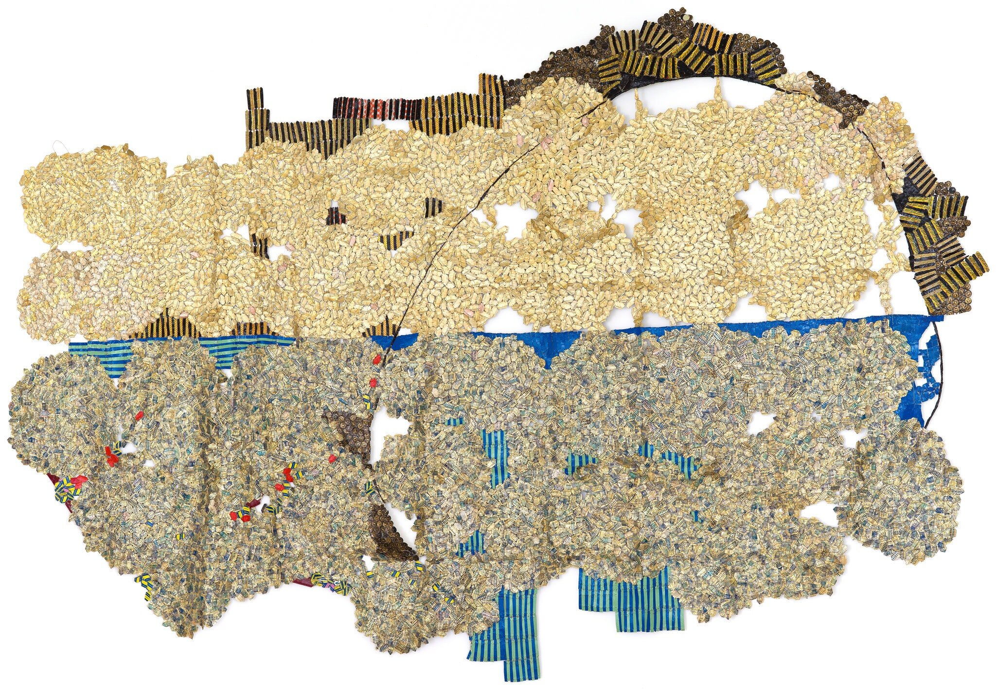 """El Anatsui's """"Horizon"""" uses bottlecaps. CreditGoodman Gallery"""