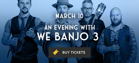 Promotional image for We Banjo 3's March 10 performance at The Cedar