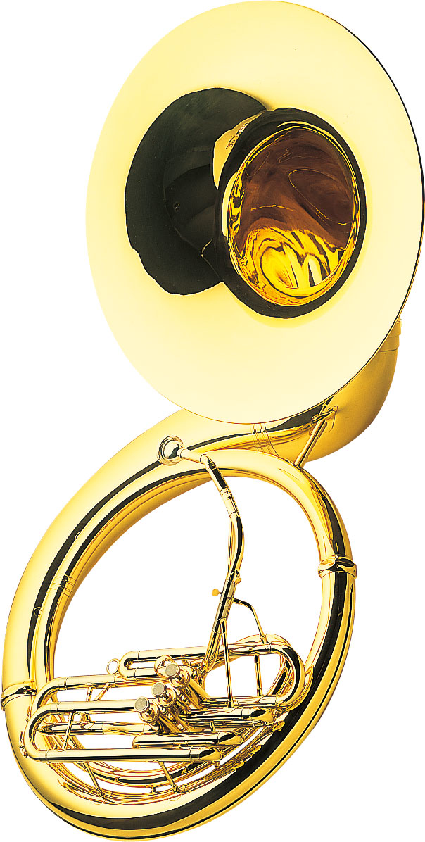 J.W. Pepper's sousaphone, part of the tuba family and an icon of brass bands, named in honor of American marching band leader John Philip Sousa