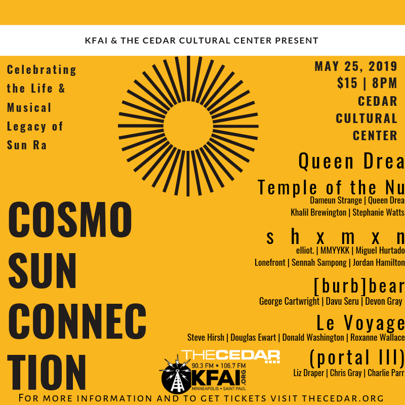 Promotional image for the Cosmo Sun Connection show at The Cedar