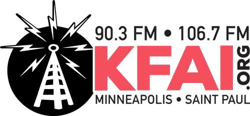 The logo for KFAI Radio.