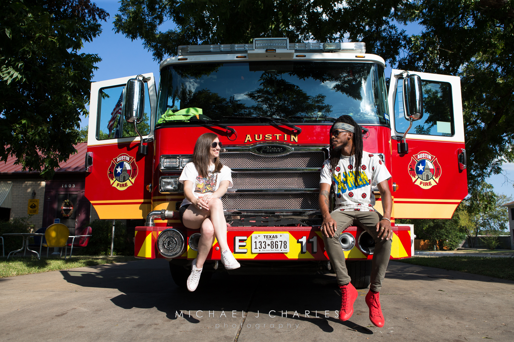 Austin fire engine and wardrobe in sync!