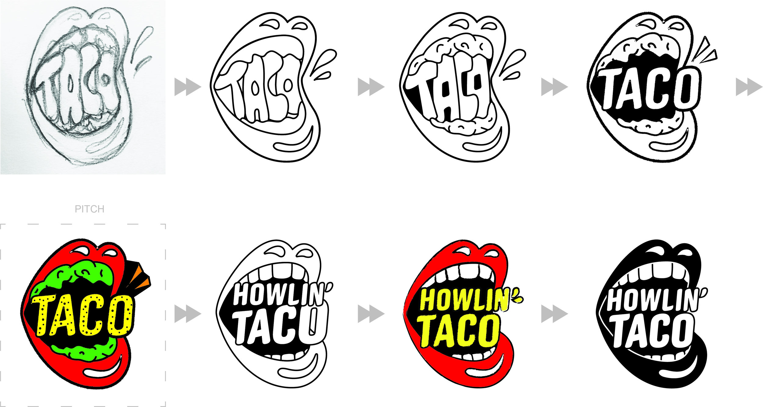 From sketch to final icon.   I drew the initial sketch within the first five minutes of our first design meeting. It was Saturday morning and I'd waited a while before we got started. I was hungry.  It came quickly. I was thinking food, rock n' roll, and Will's love for the Rolling Stones. We initially explored letting the taco mouth speak for itself and tried not including the full name in the icon. It was a very design-dream-world idea and the more practical full name won that one post pitch. Jason and I parted ways post pitch presentation. I refined the icon based on Will and Rob's feedback and…the logo was born. The whole process took less than < 5 days.  You can take a look at other directions we pitched at the end of this post.