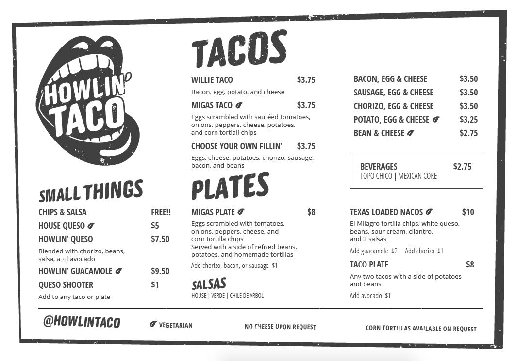 Howlin' launch menu layout