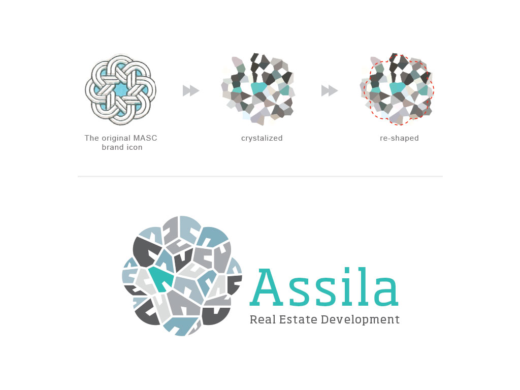 Rebranding for the giant real estate developer. The icon in the top left corner was the starting point.  Modified and crystalized to reflect the brand values and re-present them while still staying true to the original shape.