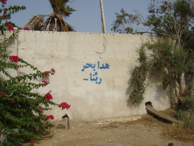 Street art calling out neglected potholes, unkempt trash, and the 1000's of kilometers of gated and abandoned private beaches in Saudi Arabia