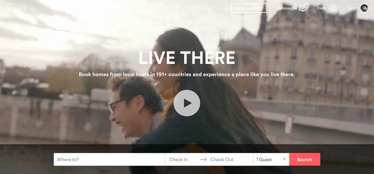 Here's what the Airbnb.com home page looks like.