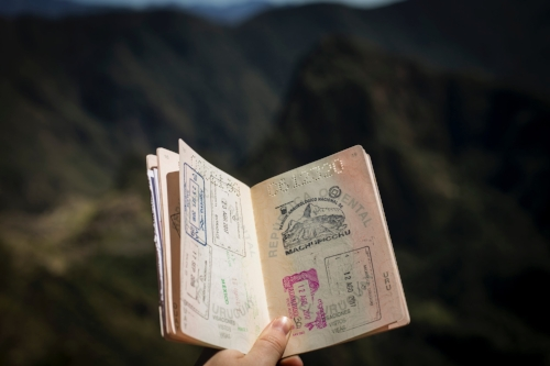 open passport being held