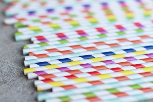 colorful paper straws up close