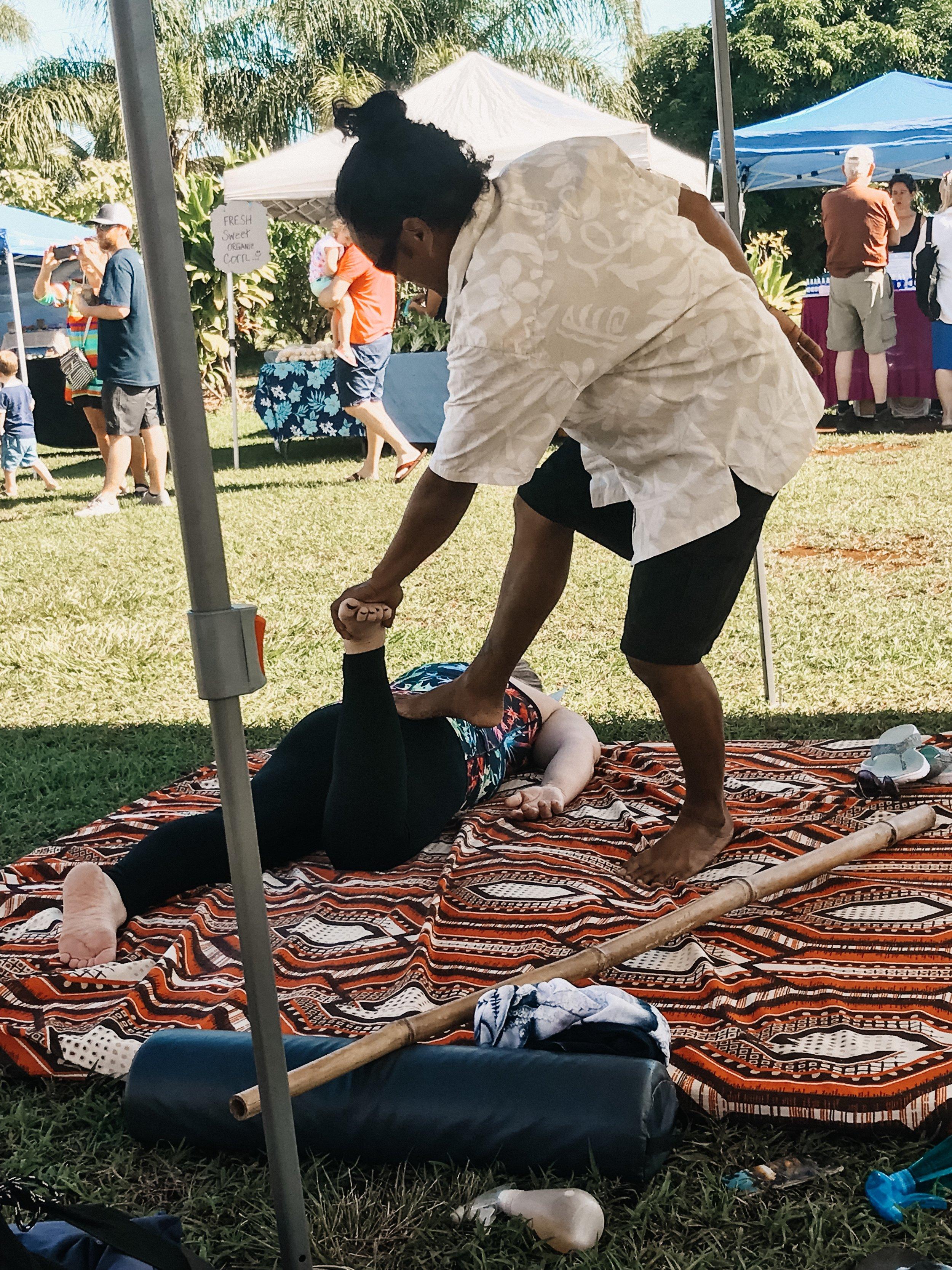 My mom enjoyed a Hawaiian step massage at the market. The cost? A hug!