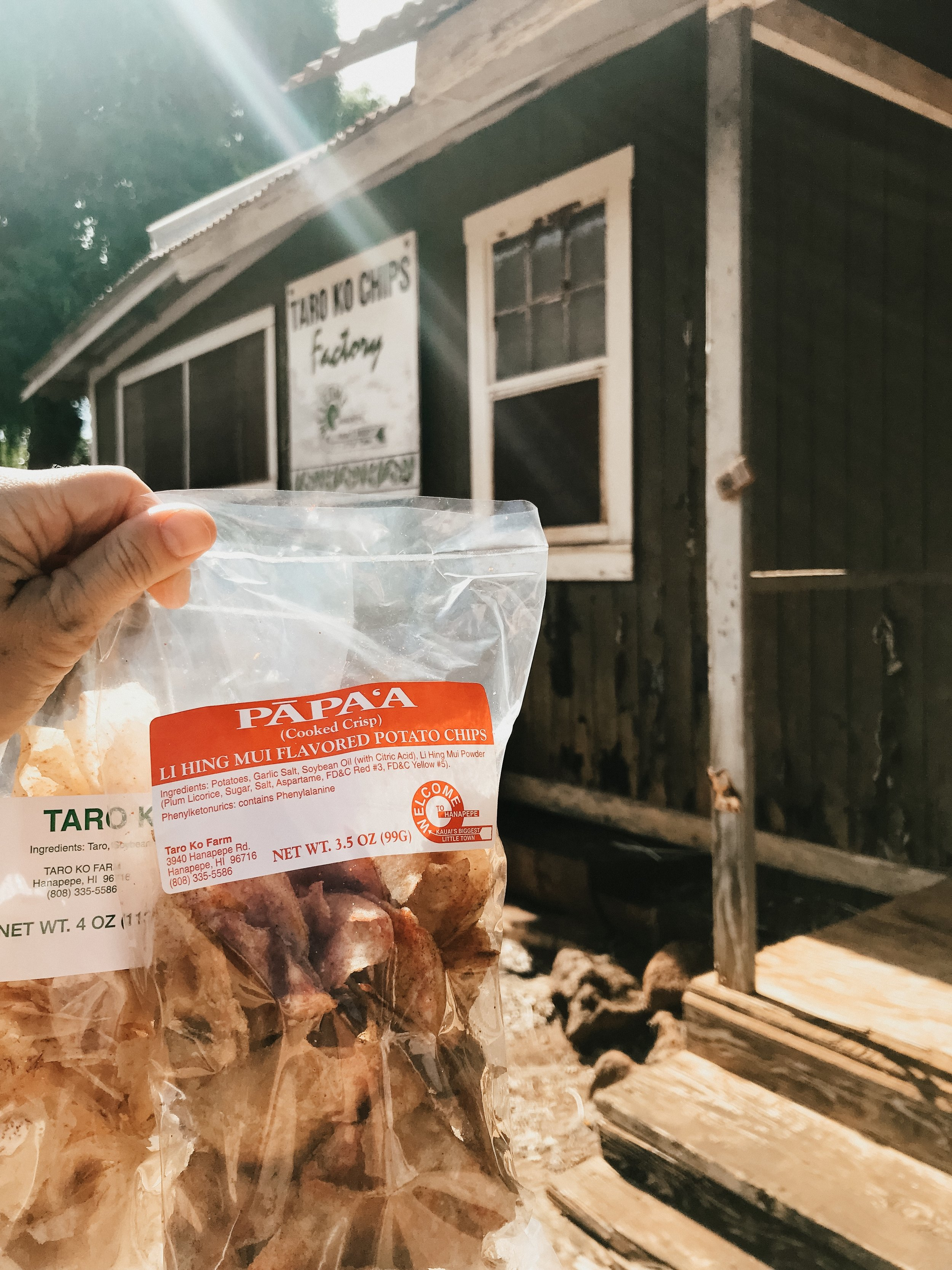 On our way back from Waimea, we stopped in Hanapepe to grab a few bags of taro chips from a hidden gem known as Chips and Dale.