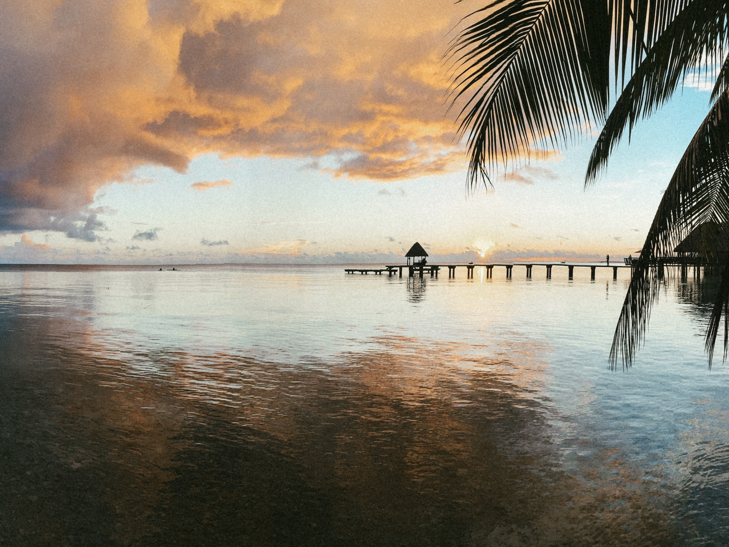 Sunset over lagoon in Rangiroa French Polynesia