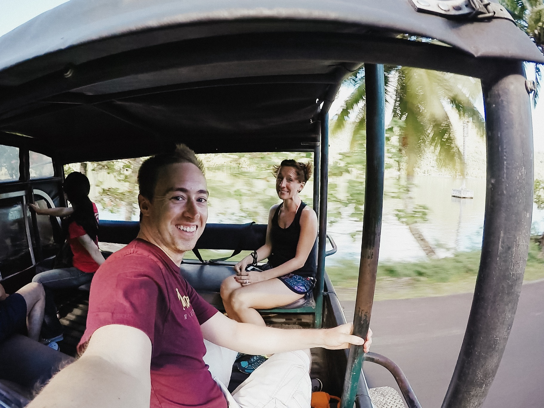 Just starting our tour - zipping down the road to pick up other travelers for the 4wd safari.