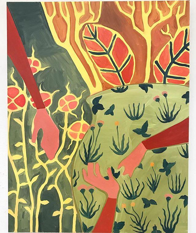 """Secret Garden"" 36x40 Oil on wood panel - - - - - - - - - - - #westernucreates #contemporaryart #canadianart #canadianartist #lockestreetshops #hamont #hamilton #hamiltonart #lockestreet #kirkendall #westernuniversity #oilpainting #artdeco #colourful #painting #art #art #canadian #canada #fistyear #memory #december #memories #fineart #watercolour #watercolor #watercolorpainting #london #londonontario"