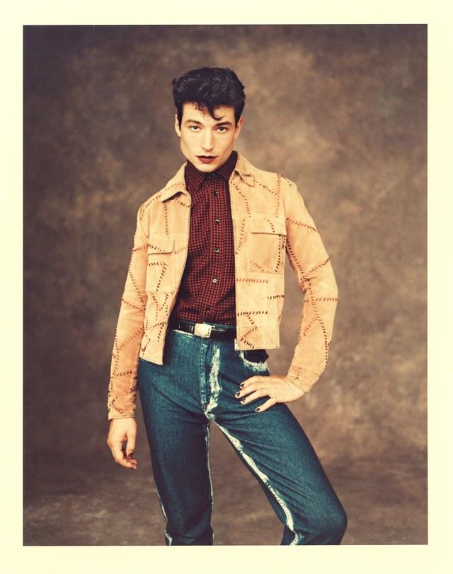 Jacket: Saint Laurent by Anthony Vaccarello ($4,990); shirt: Saint Laurent by Anthony Vaccarello ($990); jeans: Eckhaus Latta ($325); belt: Ralph Lauren ($1,750)